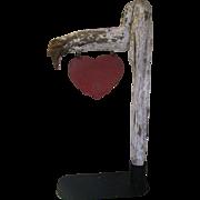 SALE PENDING Antique Folk Art Iron Heart On Limb Roadside Sign