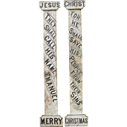 Antique Wooden Religious Celebration Columns or Signs