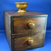 Antique wood ballot box Tiger Maple rare late 1800's with clay voting balls fraternal or golf