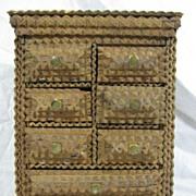 Antique Tramp Art dresser box wonderful Folk Art
