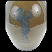 Antique Silver Overlay Golf - Sports Ceramic Jug