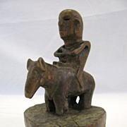 Early Folk Art Carving of Man on a Horse---Old!