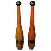 Antique Pair of Folk Art Painted Indian Clubs