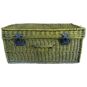 Antique Country Painted Wicker Suitcase