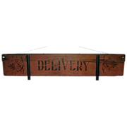 Antique Wagon Wooden Broad Board Delivery Sign Folk Paint