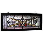 Antique Leaded Glass Billiard Stained Glass Window