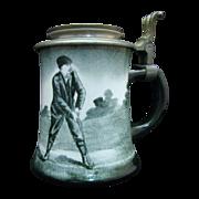 Antique O'Hara Dial Golf Theme Ceramic Stein