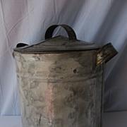Antique Folk Smoke Decorated Storage Tin