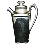 Vintage Silver Plate Golf Theme Cocktail Shaker
