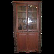 Antique Country Sponge Folk Decorated Corner Cupboard