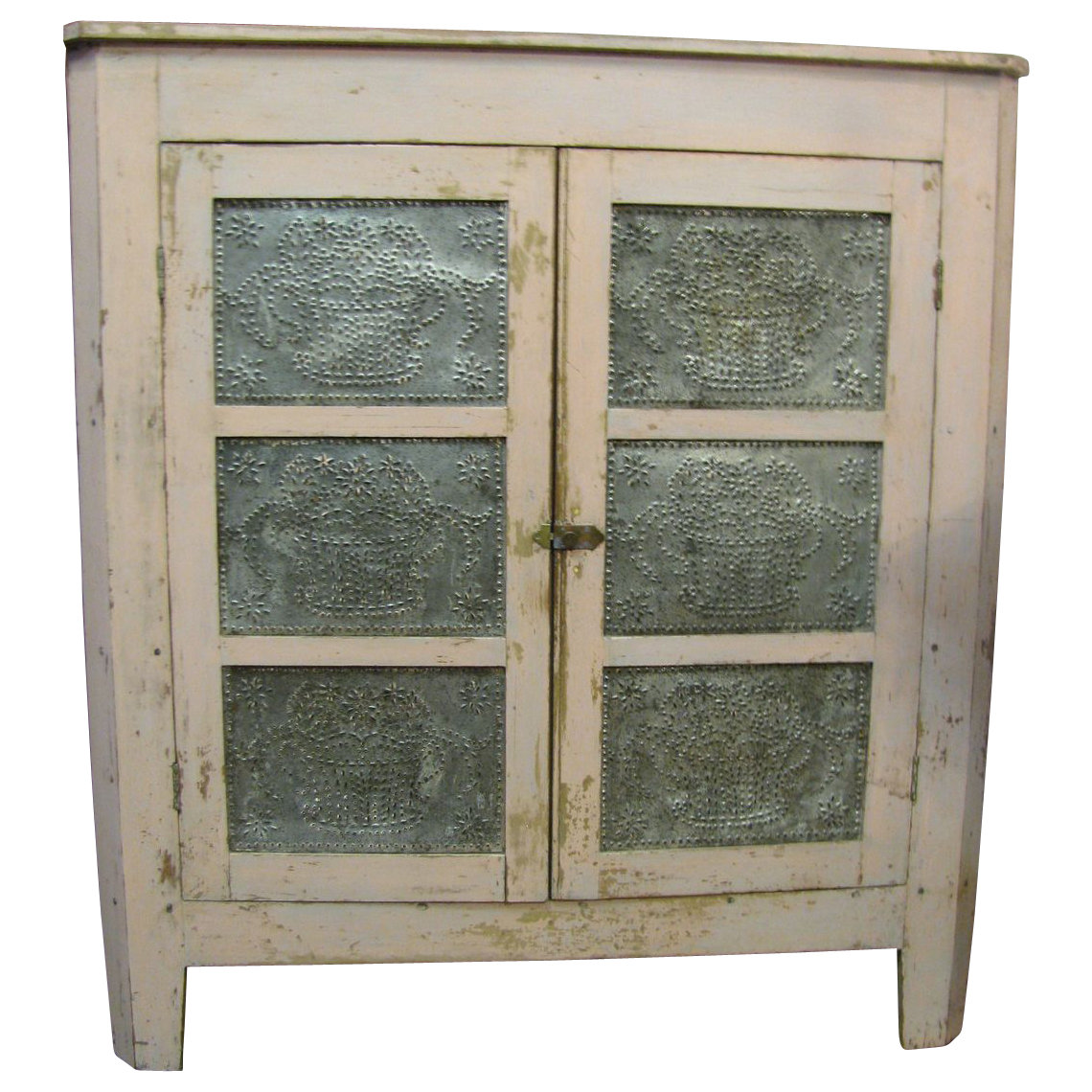 Antique Corner Pie Safe Rare Painted Punched Tin From