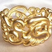Anne Klein Signed Chunky Cuff Bracelet with Matching Earrings