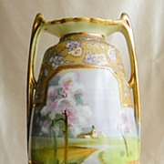 "SALE Antique Nippon Moriage Hand Painted Scene Porcelain Vase with Handles 12 1/2"" Tall ."