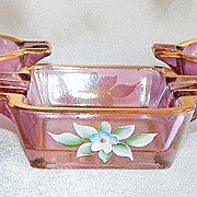 Set of 3 1940s Amethyst Glass Gold Trim Hand Painted Ashtrays Vienna Austria