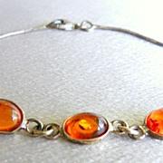 Vintage Genuine Amber 925 Sterling Silver Bracelet