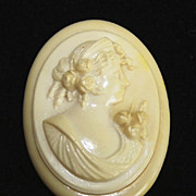 Victorian Ivory Celluloid Cameo with C-Clasp