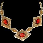 Art Deco Brass Filigree and Topaz Citrine Glass Necklace