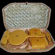 Celluloid Monogrammed Dresser Set in Original Storage Box