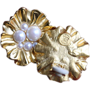 Givenchy Clip Earrings-Faux Pearl Flower Motif-Exciting Elegance!