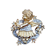 Angel Pin-Floating On Brilliant Crystal Stars-Adorable By Gem Craft