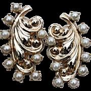 SALE PENDING Barclay Fur Clips-Rare Set-Goldtone Swirls & Faux Pearls-Impressive Matching