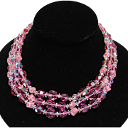 Hattie Carnegie-Pink Crystal Necklace & Murano Glass Beads-Brilliant Beauty