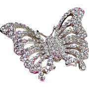 SALE Swarovski Swan Logo Butterfly Pin-Open Design Covered with Brilliant Crystals