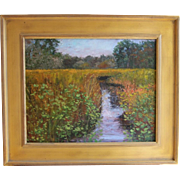 Herring River Marsh-Cape Cod-Framed 16 X 20 Original Oil Painting-Artist L. Warner