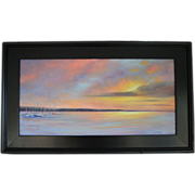 SALE Seascape Sunset-Sailor's Delight-Framed 12 X 24 Original Oil Painting by L. Warner