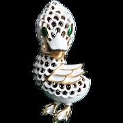 SALE Trifari Duck-Pet Series-White Lattice Enamel-Too Cute