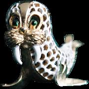 Trifari Walrus-Pet Series-White Lattice Enamel-Really Cute
