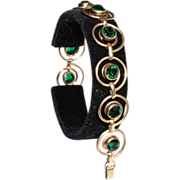 Simmons Bracelet-10 Circle Links-Brilliant Vintage Green Crystals-Earthy Elegance