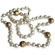 Napier Faux Pearl Necklace-Strung on Chain-Five Ornate Gold Tone Stations-Beautiful Floral Mot
