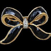 Swarovski America Limited Pin-S.A.L.-Black Enamel & Paves Bow Pin-Chic!
