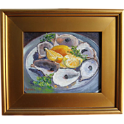 Still Life-All Gone-Framed 8 X 10 Oil Painting by L. Warner-Oyster Shells