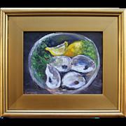 SOLD Still Life-Oyster Shells, Lemon & Parsley-Framed 8 X 10 Oil Painting by L. Warner