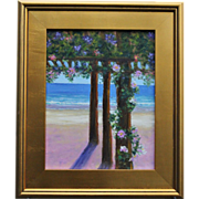 REDUCED Seascape-January Dreaming-Turquoise Water & Beach Cabana-11 X 14 Oil Painting by L. Wa