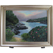 "Seascape-""Summer Mist""-Framed 18 X 24 Original Oil Painting-L. Warner Artist"