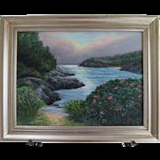 "Seascape-""Summer Mist""-Framed 18 X 24 Original Oil Painting-L. Warner Artist"
