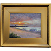 Seascape-Sunrise Over Easton's Beach, Newport, RI-8 X 10 Framed Oil Painting-L. Warner Artist