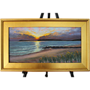 Seascape Sunset-Mayo Beach, Wellfleet, MA- Framed 12 X 24 Oil Painting by L. Warner