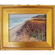 Rainy Day Dunes- Framed 9 X 12 Oil Painting by Artist L. Warner-Atlantic Ocean ...