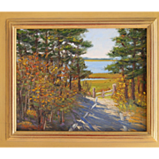 Landscape-Wellfleet, MA Trail-8 X 10 Framed Oil Painting by L. Warner