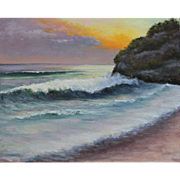SALE Seascape Sunset-Ocean Waves Rolling In-16 X 20 Framed Oil Painting by L. Warner