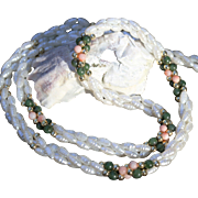 Freshwater Cultured Seed Pearl Necklace-Three Strands-Jade & Coral Bead Accents-Classic & Deli