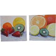 "Still Life-Fruit-Two 8 X 8"" Oil Paintings by L. Warner-Gallery Wrapped-Bright & Fun"