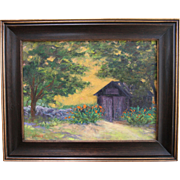 "REDUCED ""Tom's Shed"" by L. Warner-12 X 16 Framed Oil Painting: Summer Yard"