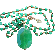 "Sequin Company Necklace-Retro Look in Faceted Quartz Beads-18"" Drop of Soft Green Charm"