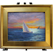REDUCED Sunset Sail-Oil Painting-Framed 11 X 14-L. Warner Artist