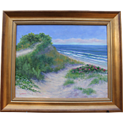 Dune with Rosa Rugosa-Original Oil Painting-16 X 20 Framed by L. Warner